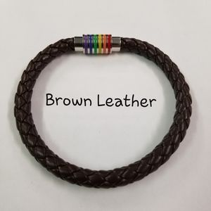 Affordable but not cheap rainbow pride gift Jewelry - Rainbow Pride Bracelet Black or Brown Leather